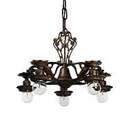 Neoclassical Five-Light Chandelier with Exposed Bulbs, Antique Lighting