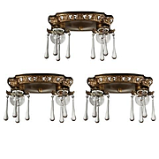 Neoclassical Flush Mount Fixtures with Teardrop Prisms, Antique Lighting