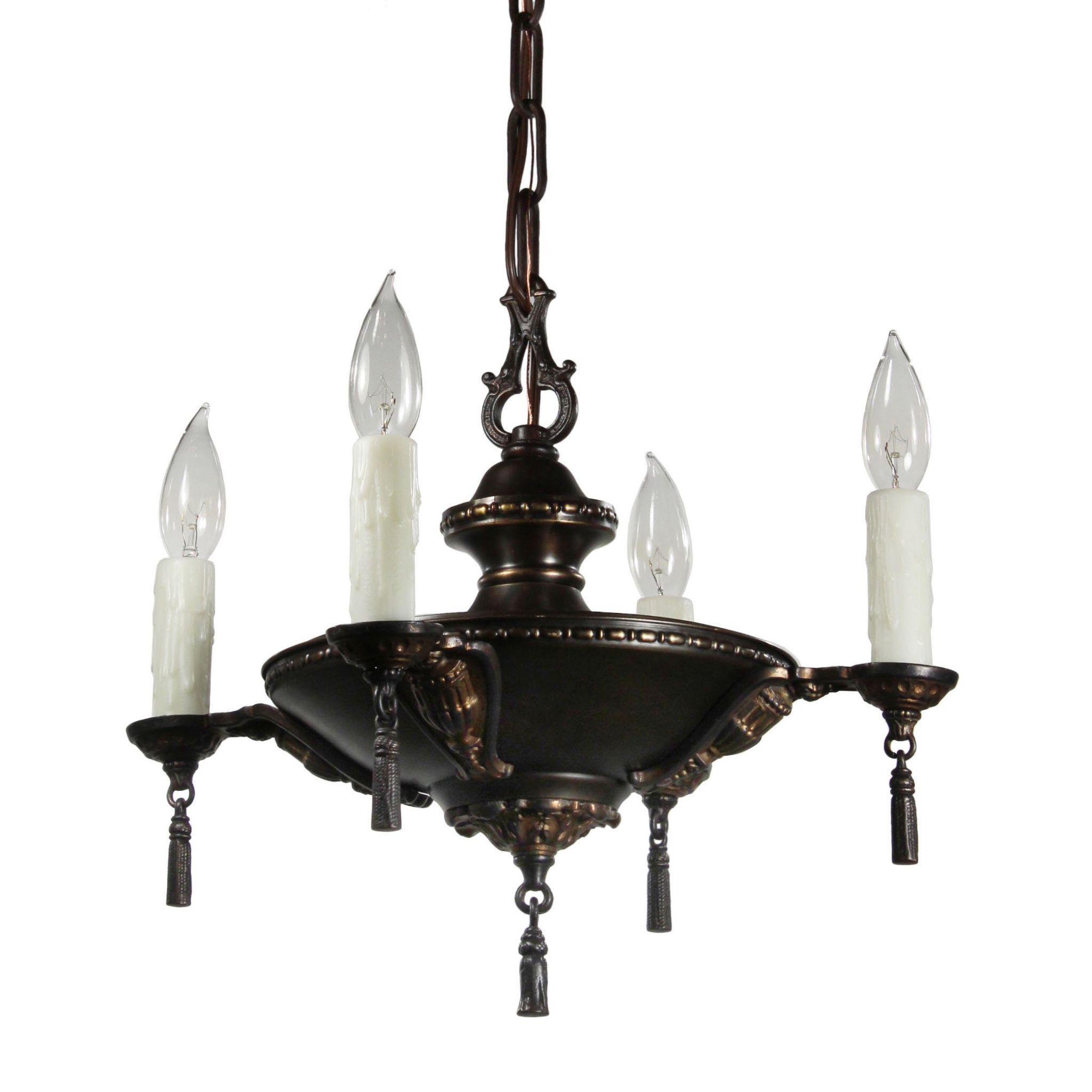 Antique Adam Style Chandelier with Tassels, Early 1900s