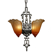 Art Deco Two-Light Slip Shade Chandelier by Lincoln, Antique Lighting