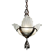 Antique Art Deco Slip Shade Chandelier, c.1930