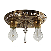 Neoclassical Flush Mount Fixture with Teardrop Prisms, Antique Lighting