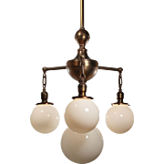 Colonial Revival Chandelier in Brass, Antique Lighting