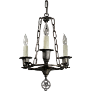 Antique Three-Light Tudor Chandelier