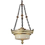 Substantial Inverted Dome Chandelier in Plaster, Antique Lighting