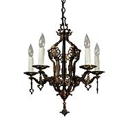 Antique Spanish Revival Chandelier by Halcolite, Cast Bronze