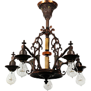 Antique Art Deco Semi-Flush Chandelier with Bakelite