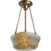 Antique Art Glass Inverted Dome Chandelier, Early 1900s