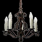Tudor Five-Light Chandelier in Iron, Antique Lighting
