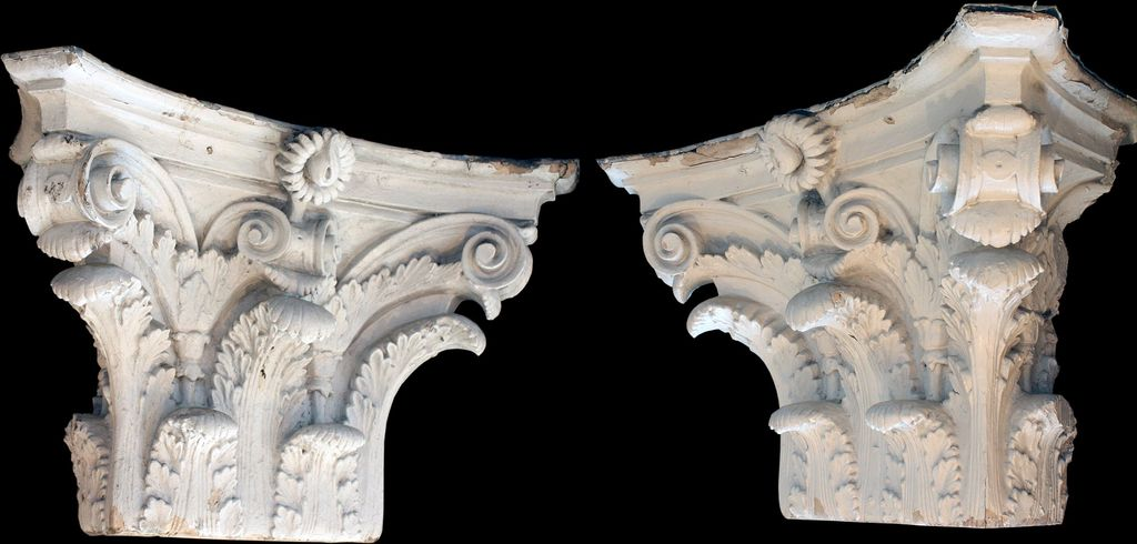 Monumental Pair of Antique Corinthian Pilaster Capitals, c. 1903