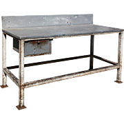 Large Salvaged Industrial Work Table, Colonial Bread