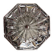 Gorgeous Antique Glass Door Knob with Starburst Design, c.1909