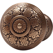 Beautiful Antique Cast Bronze Doorknob Set by Russell and Erwin, c. 1875