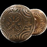 Antique Cast Bronze Fleur-de-Lis Doorknob Set by Mallory & Wheeler, c.1885
