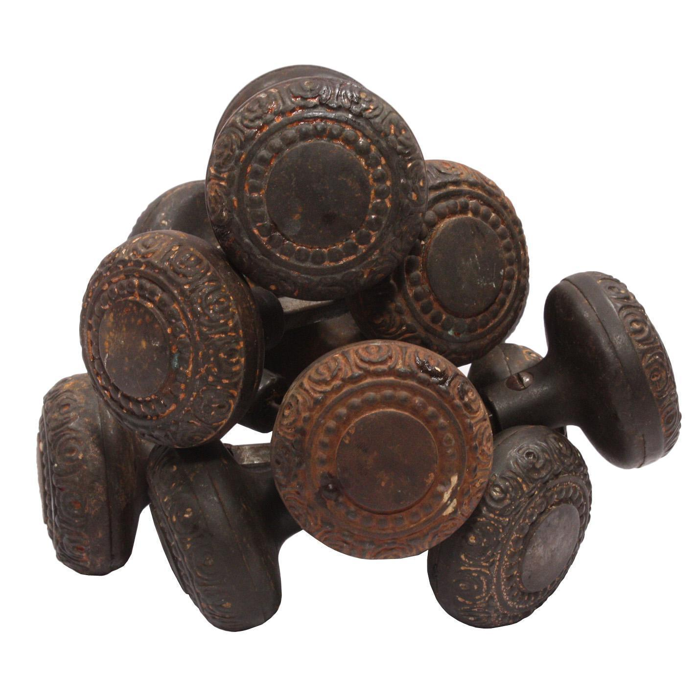 Antique Cast Iron Doorknob Sets with Beading