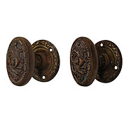 "Antique ""Arcadia"" Doorknob Set with Matching Escutcheons by Barrows"