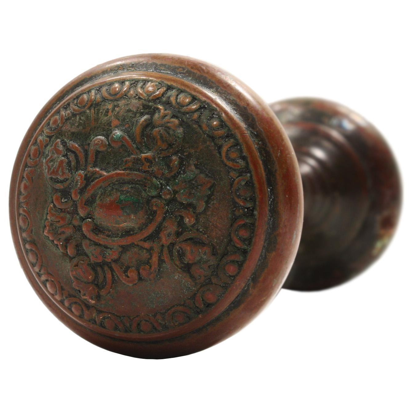 Antique Neoclassical Bronze Doorknob Set, Early 1900s