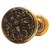 Antique Adam Style Bronze Exterior Doorknob Set, Early 1900s
