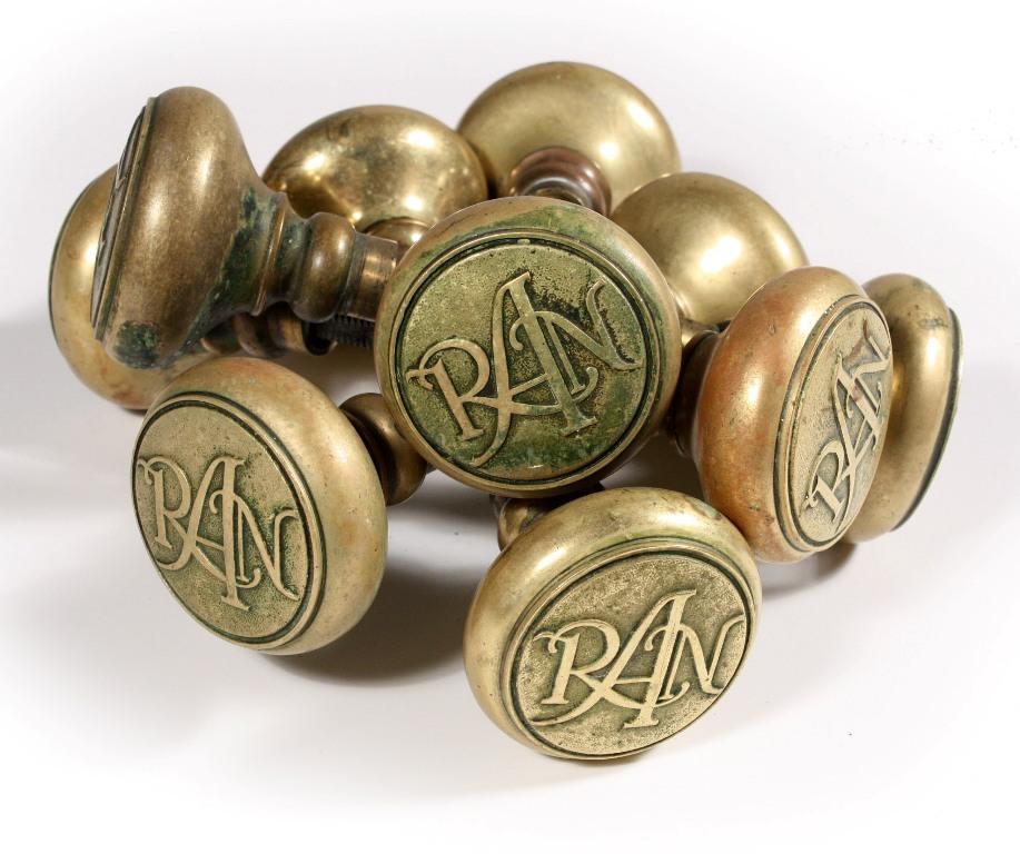 Antique Cast Brass Emblematic Doorknob Sets, RAN (Royal Neighbors of America)