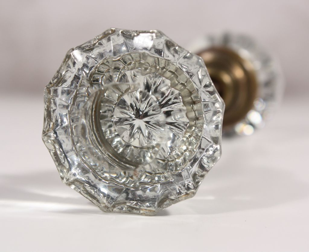 Antique Fluted Glass Door Knob Sets From