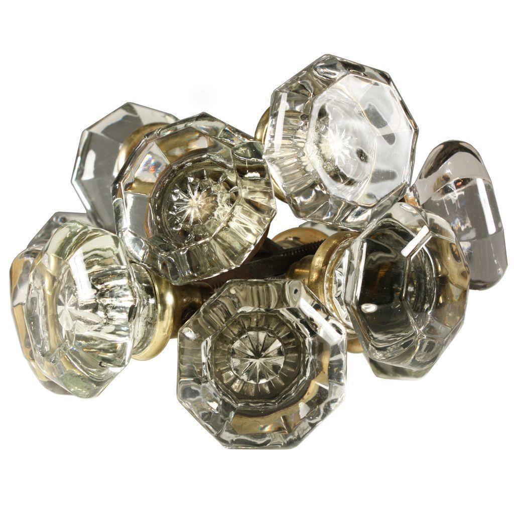 Antique Octagonal Glass Door Knob Set