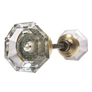 Unusual Antique Faceted Octagonal Glass Door Knob Set
