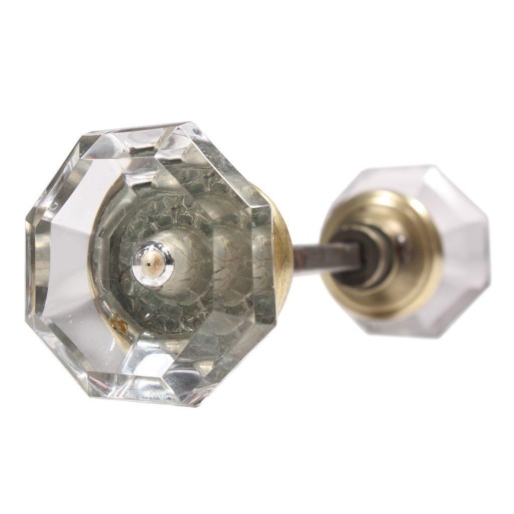 Unusual antique faceted octagonal glass door knob set from for Unique door knobs