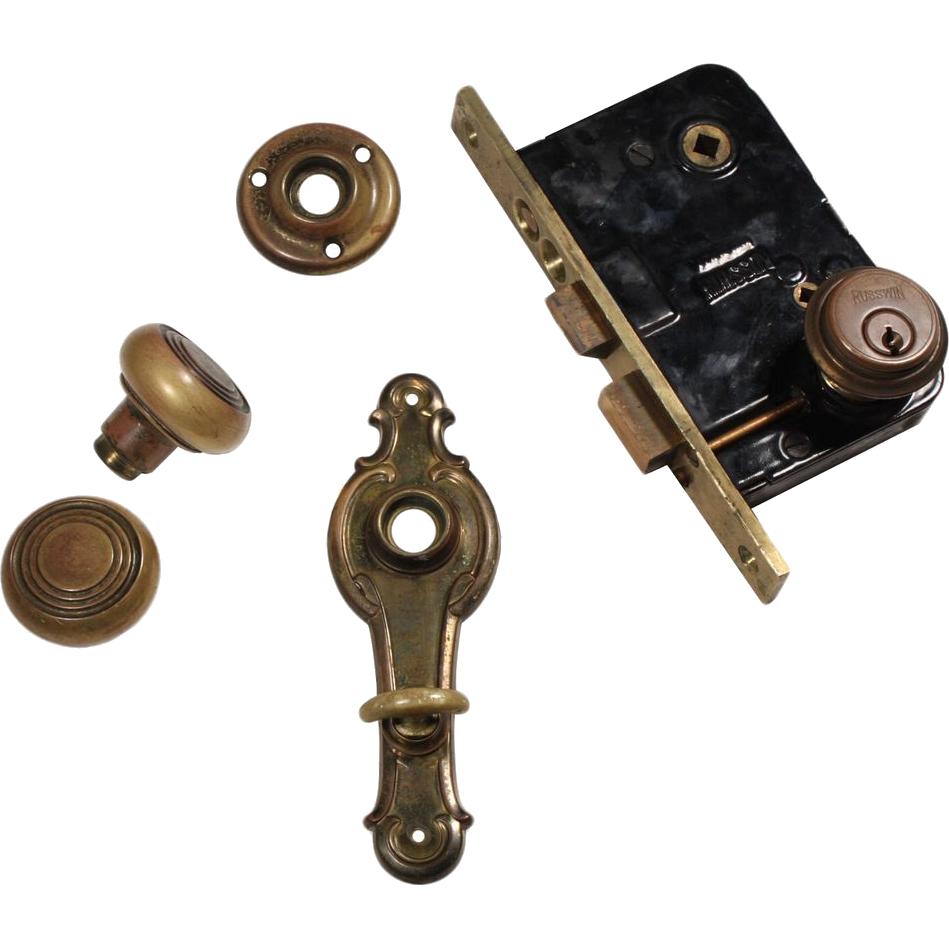 Matching antique door hardware sets by russwin cleo c for 1930 door locks