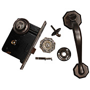 Complete Antique Exterior Lock Set with Thumb Latch by Corbin