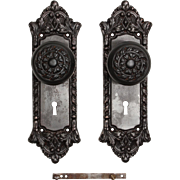 "Antique Cast Iron ""Chatham"" Door Hardware Set by Russell & Erwin, c. 1909"