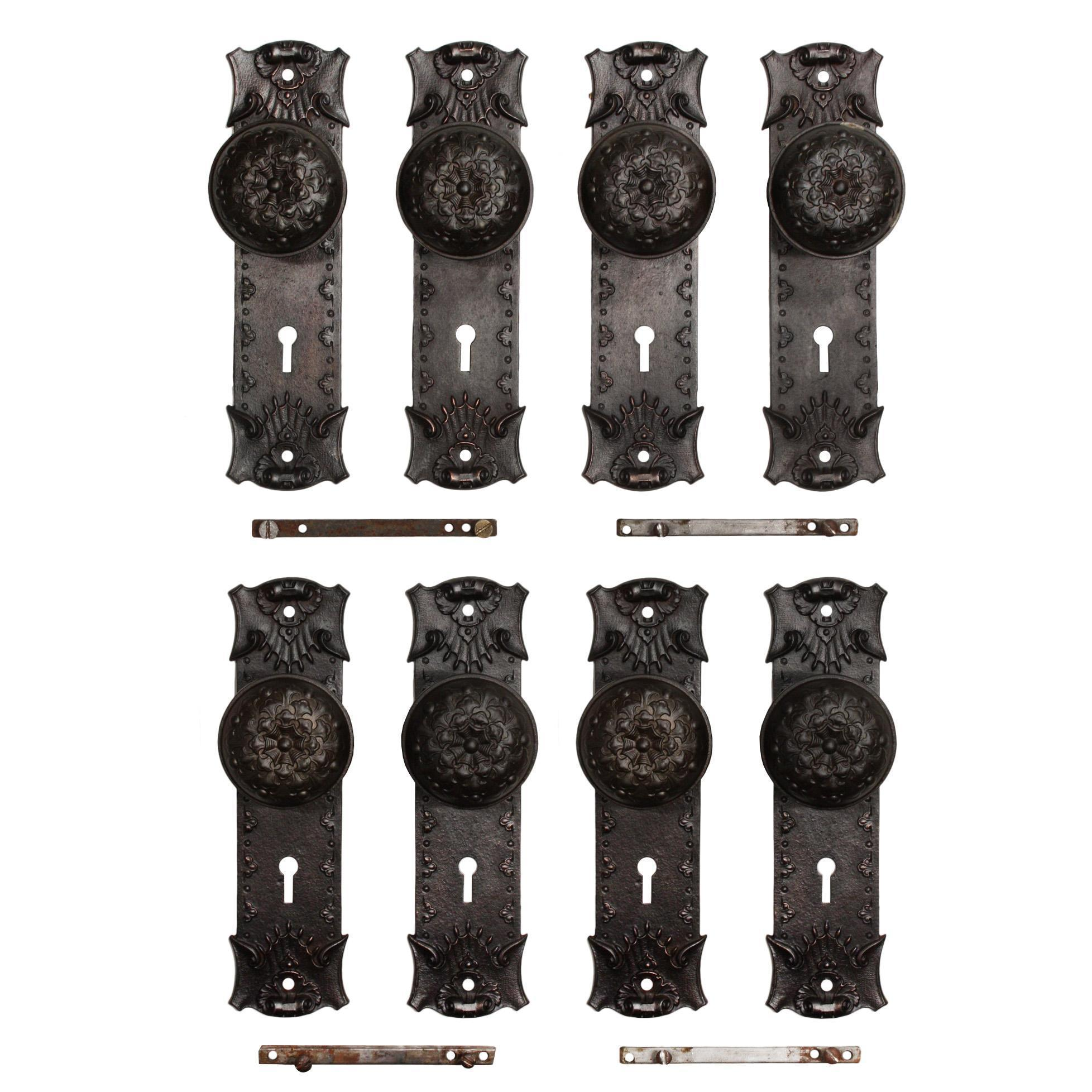 "Antique Cast Iron ""Ideal"" Door Hardware Sets, Early 1900s"