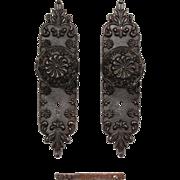 Antique Eastlake Cast Iron Door Hardware Set, c.1890