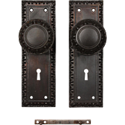 Antique Cast Iron Egg-&-Dart Door Hardware Sets, c. 1900