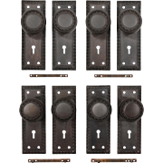 Antique Egg-&-Dart Door Hardware Sets in Cast Iron, c. 1900