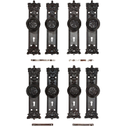 Antique Cast Iron Door Hardware Sets with Foliates, Early 1900s