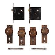 "Antique Cast Bronze ""Arabic"" Door Hardware Sets by Mallory & Wheeler, c.1884"