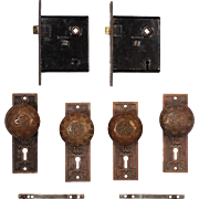 "Antique Cast Bronze ""Arabic"" Door Hardware Sets by Mallory & Wheeler, c.1884"