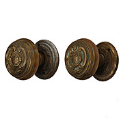 Vintage Doorknob Sets with Matching Escutcheons, c.1930