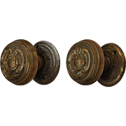Vintage Doorknob Sets with Matching Escutcheons, c.1930