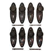 """Antique Cast Iron """"Louis XIII"""" Door Hardware Set by Norwalk, c. 1890s"""