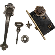 Complete Antique Hammered Thumb Latch Set with Lock