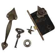 Complete Antique Spade Thumb Latch Set with Lock by Welch