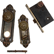 "Antique ""Fleuroy"" Complete Exterior Door Hardware Set by Reading Hardware, c. 1910"