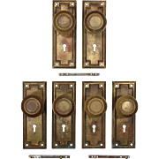Antique Brass Arts & Crafts Door Hardware Sets, Early 1900's