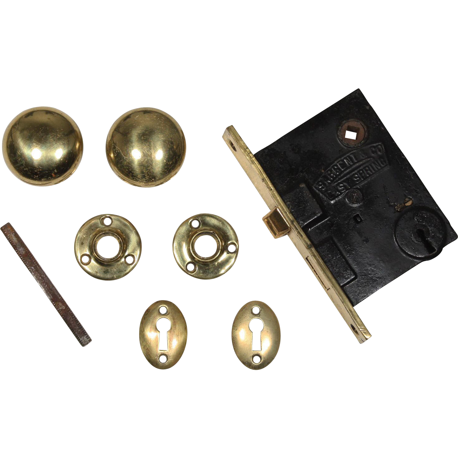 Complete Antique Brass Hardware Sets With Matching