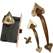 Complete Antique Double Handle Thumb Latch Set with Lock, Signed Welch