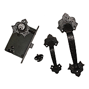 Complete Antique Double Handle Thumb Latch Set with Lock by Welch