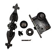 Complete Antique Fleur-de-lis Thumb Latch Set with Lock
