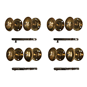 Antique Oval Door Hardware Sets with Matching Rosettes, Brass