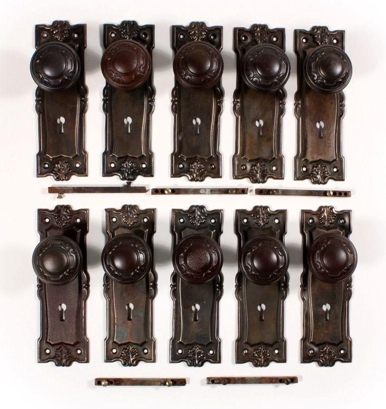 "Antique ""Wilton"" Door Hardware Sets by Norwalk, with Knobs & Plates -- 12 AVAILABLE"